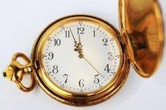 古色古香的平面的金子图象口袋视图手表 免版税库存照片