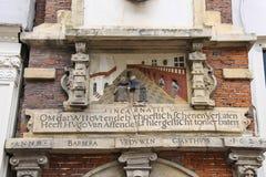 古色古香的房子的艺术装饰的上部在哈莱姆 免版税库存图片