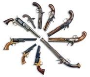 古色古香的手枪收藏 免版税库存图片