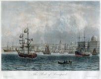 古色古香的手色的利物浦口岸和船英国1840 免版税库存图片
