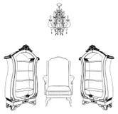 古色古香的扶手椅子书橱内部场面 向量例证