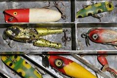 古色古香的捕鱼诱剂 免版税库存照片