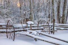 古色古香的搂草机,风景的冬天,坎伯兰峡国家公园 免版税图库摄影