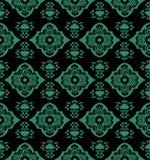 古色古香的无缝的绿色背景东方中国螺旋藤flo 免版税库存图片