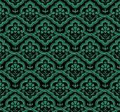 古色古香的无缝的绿色背景东方曲线螺旋十字架fl 库存照片