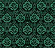 古色古香的无缝的绿色背景东方螺旋几何线 免版税库存照片