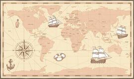 古色古香的映射世界 葡萄酒指南针和减速火箭的船在古老海洋地图 古国界限传染媒介例证 皇族释放例证