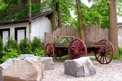 古色古香的木无盖货车在魁北克,加拿大 库存照片