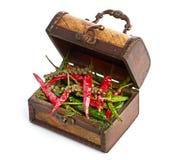 古色古香的木胸口和香料 免版税库存照片