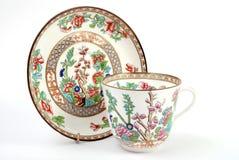 古色古香的杯子茶碟 库存图片