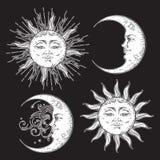 古色古香的样式手拉的艺术太阳和月牙月亮集合 在黑背景隔绝的Boho别致的设计传染媒介白色 库存例证