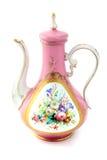 古色古香的桃红色咖啡罐由在biedermeier时期的瓷制成 免版税库存图片