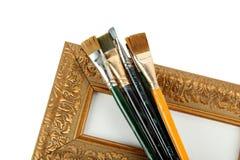 古色古香的框架油漆刷 免版税库存图片