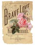 古色古香的植物的拼贴画-破旧的别致-桃红色罗斯-葡萄酒活页乐谱-困厄的纸背景 免版税库存图片