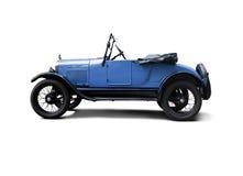 古色古香的汽车蓝色敞篷车旧车改装的高速马力汽车 免版税库存照片