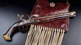 古色古香的法国燧发枪手枪 库存照片