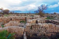 古色古香的港口,凯瑟里雅Maritima废墟  库存照片