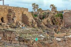 古色古香的港口,凯瑟里雅Maritima废墟 免版税库存照片