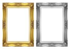 古色古香的灰色和金框架 免版税库存照片
