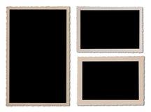 古色古香的照片框架设置与波浪边缘 免版税库存照片