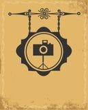 古色古香的照片符号存储街道 免版税图库摄影