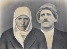 古色古香的照片老穆斯林已婚夫妇 免版税库存照片