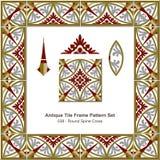 古色古香的瓦片框架样式set_038圆的脊椎十字架 皇族释放例证