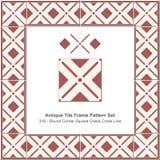 古色古香的瓦片框架样式set_316圆角落正方形检查十字架线 免版税库存图片