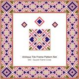 古色古香的瓦片框架样式set_040正方形框架十字架 图库摄影