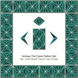 古色古香的瓦片框架样式set_368绿色马赛克多角形十字架三角 免版税库存照片