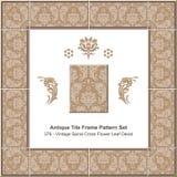 古色古香的瓦片框架样式set_376葡萄酒螺旋十字架花叶子标签 免版税图库摄影