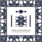 古色古香的瓦片框架样式set_237蓝色三角十字架圆的线 免版税库存图片