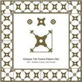 古色古香的瓦片框架样式set_194金黄发怒线花 免版税库存图片