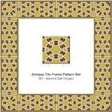 古色古香的瓦片框架样式set_387 Islammic星多角形 免版税库存照片