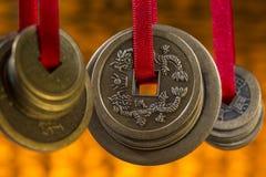 古色古香的瓷中国人硬币 免版税库存照片