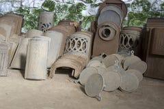古色古香的生铁火炉零件 库存图片