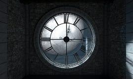 古色古香的由后照的时钟和月亮 向量例证