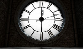 古色古香的由后照的时钟 免版税图库摄影