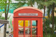 古色古香的电话内阁 免版税库存图片