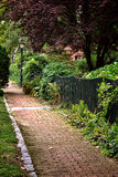 古色古香的砖胡同和围场在老古镇 免版税库存图片