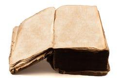 古色古香的空白被开张的页大型书本 库存图片
