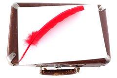 古色古香的笔红色手提箱 免版税图库摄影