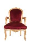 古色古香的红色和金椅子 免版税图库摄影