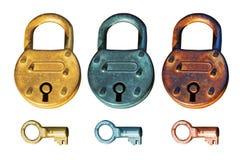 古色古香的组挂锁 库存照片