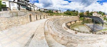 古色古香的罗马剧院在奥赫里德,马其顿 图库摄影