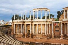 古色古香的罗马剧院天视图在梅里达 免版税库存照片