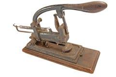 古色古香的老副筒仓订书机视图 免版税库存图片