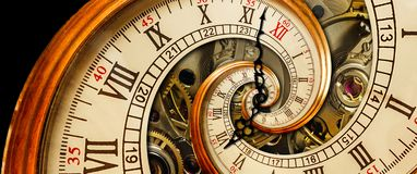 古色古香的老时钟摘要分数维螺旋 观看经典时钟机制异常的抽象纹理分数维样式背景 老 库存照片