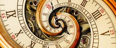 古色古香的老时钟摘要分数维螺旋 观看经典时钟机制异常的抽象纹理分数维样式背景 老 免版税库存图片