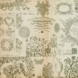 古色古香的背景拼贴画花卉蒙太奇 免版税图库摄影